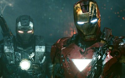 Iron Man 2 (2010) War Machine (Don Cheadle)(L) and Iron Man (Robert Downey Jr.)